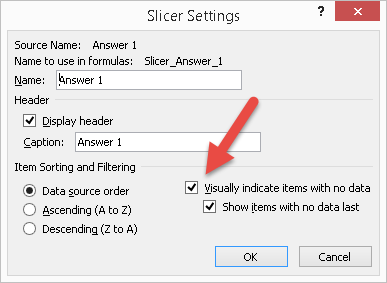 Figure 7 The Slicer Settings dialog box in Excel 2010.