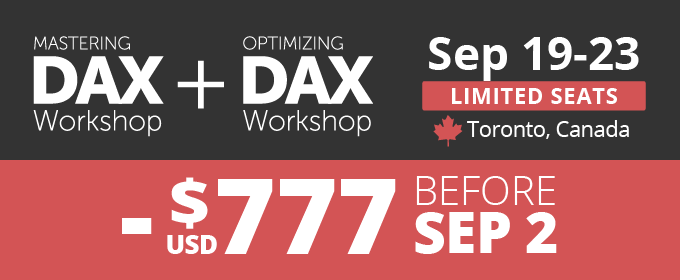 Register now and save up to USD 777 - Mastering DAX + Optimizing DAX in Toronto Sep 19-23