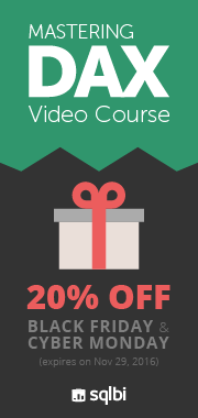 Black Friday 2016 - 20% OFF on Mastering DAX Video Course