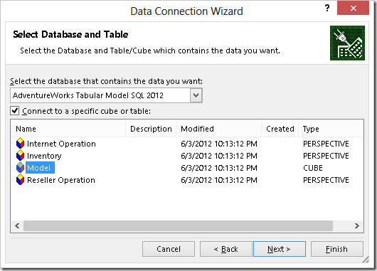 Import Data from Tabular Model in Excel Using a DAX Query