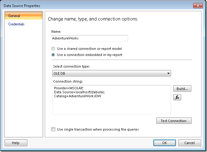 Define OLE DB Data Source using MSOLAP in Reporting Services