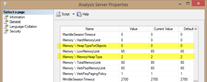 Memory Settings in Analysis Server Properties