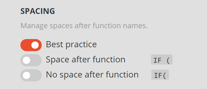 New spacing options